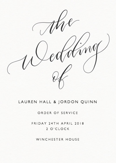 The Wedding Of Calligraphy | Personalised Order Of Service