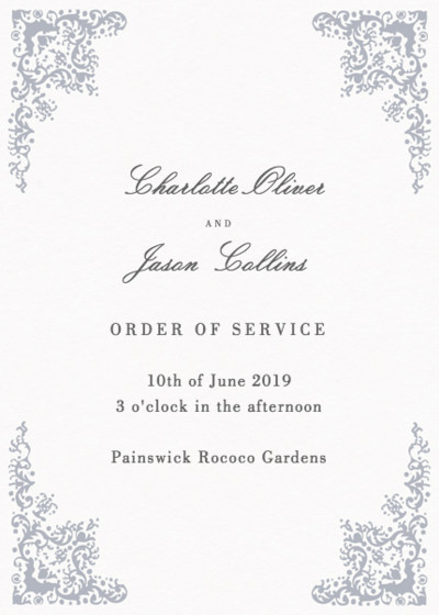 Rococo Silver | Personalised Order Of Service