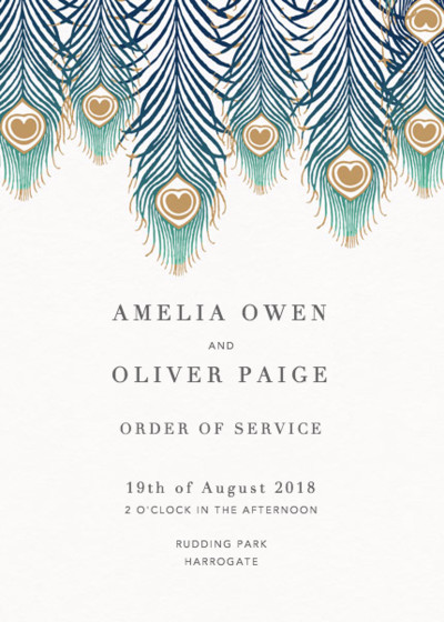 Peacock Feathers Ombré | Personalised Order Of Service