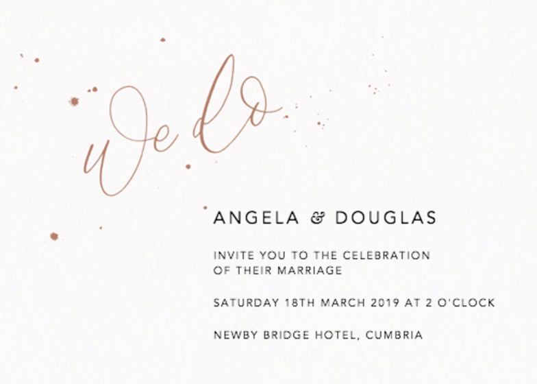 We Do Speckle Bronze | Personalised Wedding Invitation