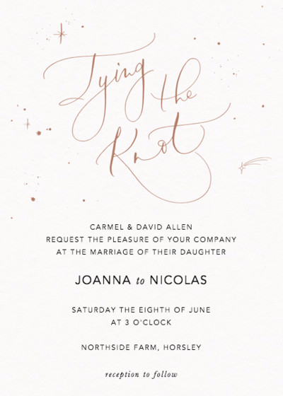 Tying the Knot Starry Bronze | Personalised Wedding Invitation