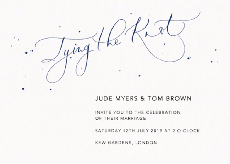 Tying the Knot Speckle Navy | Personalised Wedding Invitation