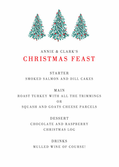 Merry Christmas Tree | Personalised Menu