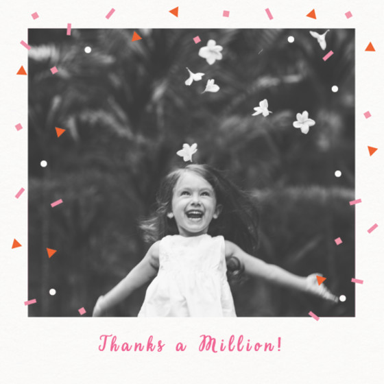 Falling Red Confetti | Personalised Thank You Card Set