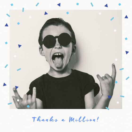 Falling Blue Confetti | Personalised Thank You Card Set