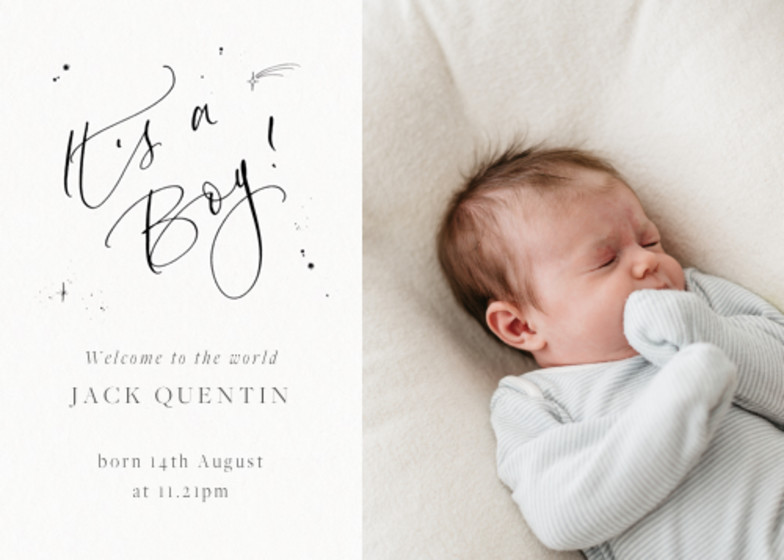 It's A Boy Starry Photo | Personalised Birth Announcement