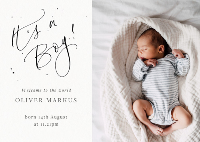 It's A Boy Speckle Photo | Personalised Birth Announcement