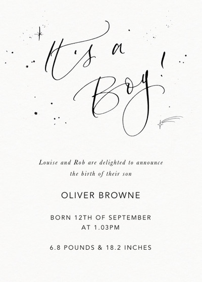 It's A Boy Starry | Personalised Birth Announcement