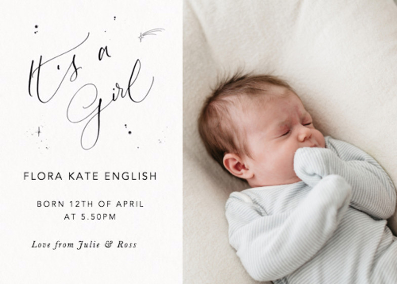 It's A Girl Starry Photo | Personalised Birth Announcement