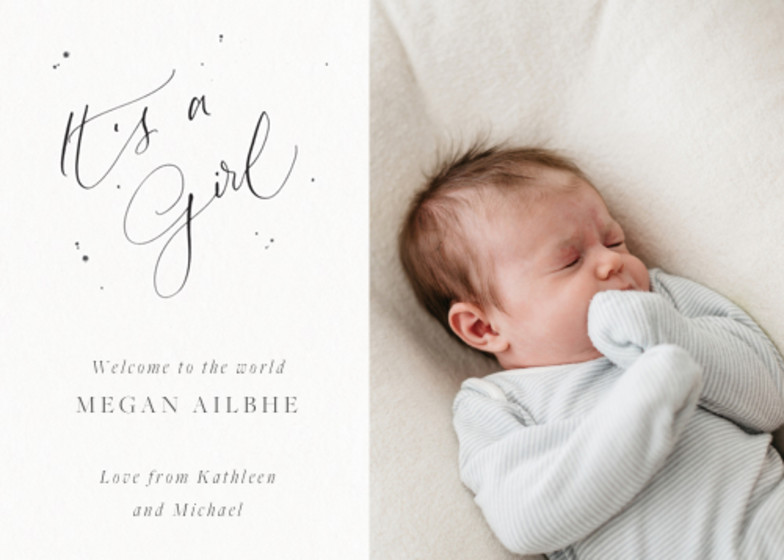 It's A Girl Speckle Photo   Personalised Birth Announcement