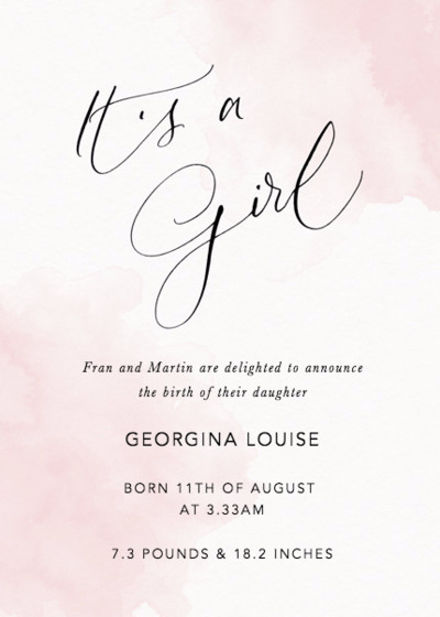 It's A Girl Blush | Personalised Birth Announcement