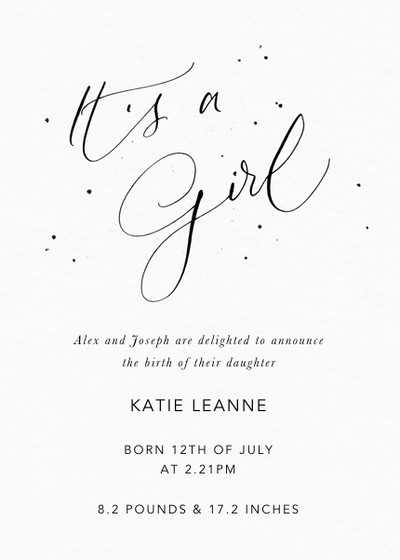 It's A Girl Speckle | Personalised Birth Announcement