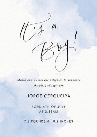 It's A Boy Blue | Personalised Birth Announcement