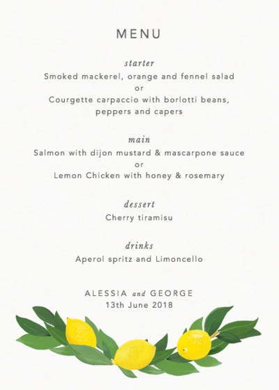 Limoni | Personalised Menu