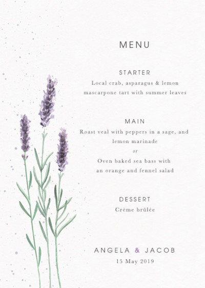 Lavande | Personalised Menu