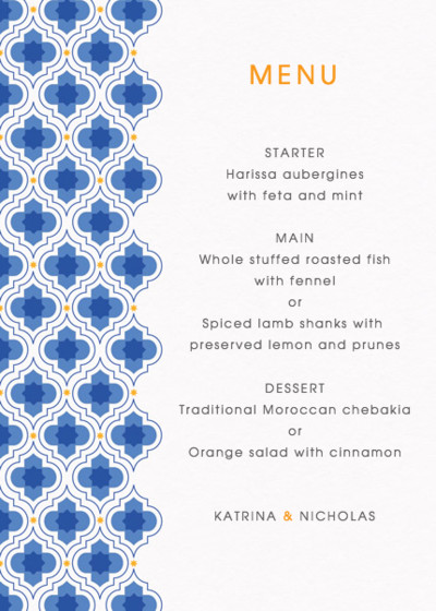 Majorelle | Personalised Menu