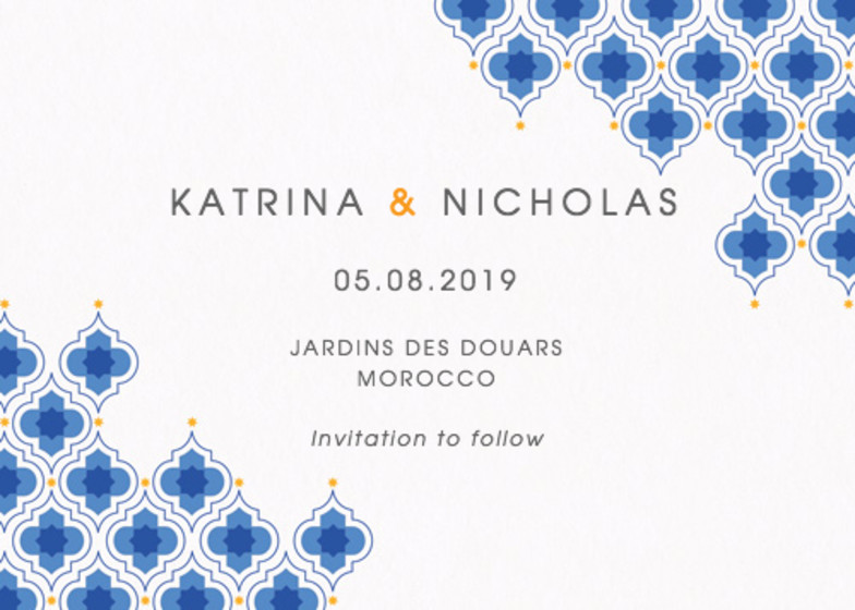 Majorelle | Personalised Save The Date