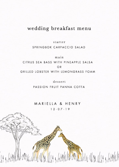Savanna | Personalised Menu