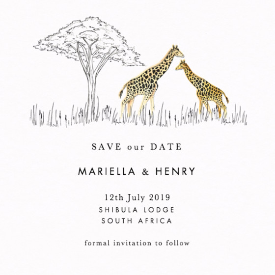 Savanna | Personalised Save The Date