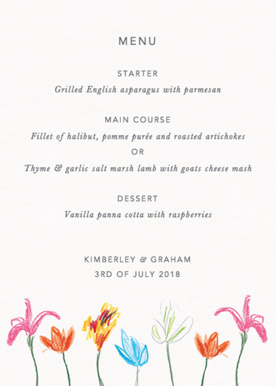Spring Tulips | Personalised Menu
