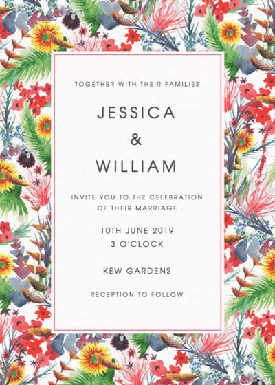 Wild Floral   Personalised Wedding Invitation