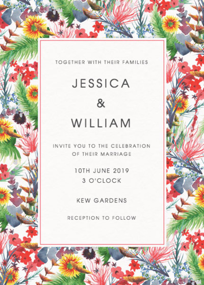 Wild Floral | Personalised Wedding Invitation