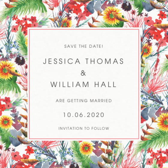 Wild Floral   Personalised Save The Date