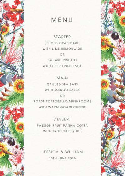 Wild Floral | Personalised Menu