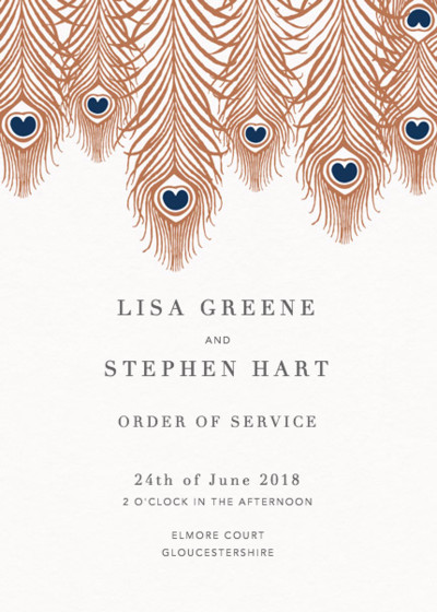 Peacock Feathers Bronze | Personalised Order Of Service