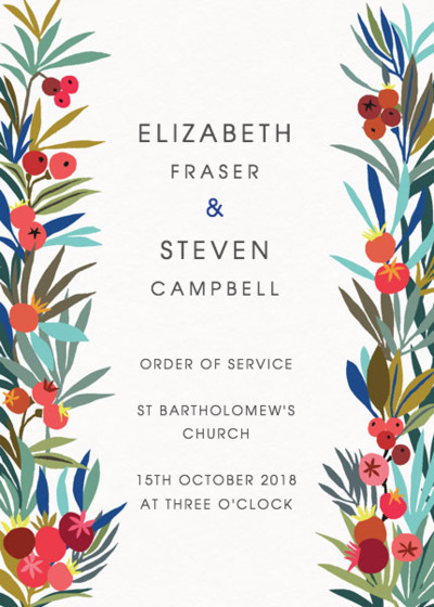 Autumn Berries | Personalised Order Of Service