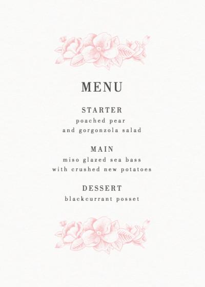 Pink Hydrangea   Personalised Menu