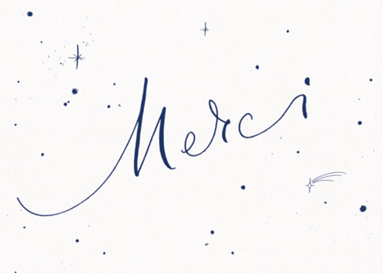 Merci Starry Navy | Personalised Thank You Card