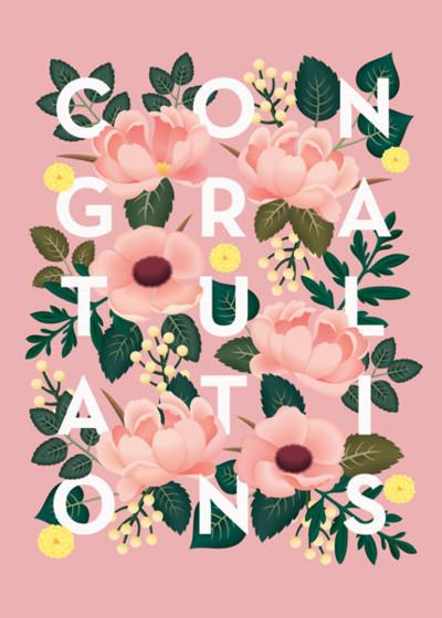 Floral Congratulations   Personalised Congratulations Card