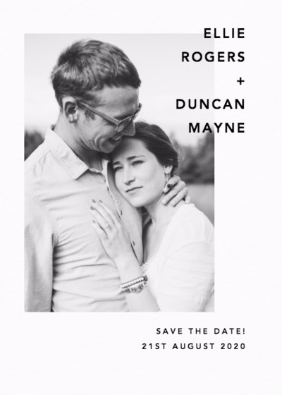 Modern Portrait Save The Date | Personalised Save The Date