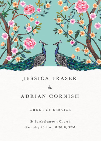 Peacock Garden | Personalised Order Of Service