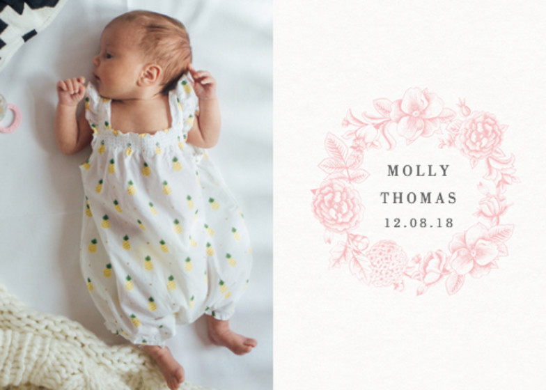 Pink Hydrangea | Personalised Birth Announcement