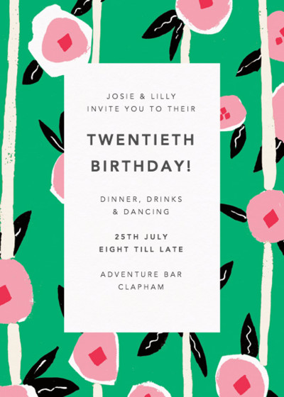 Flowers & Stripes | Personalised Party Invitation