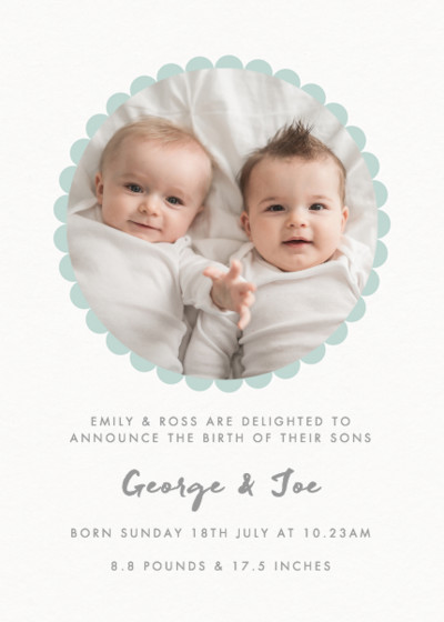 Mint Scallop Border | Personalised Birth Announcement