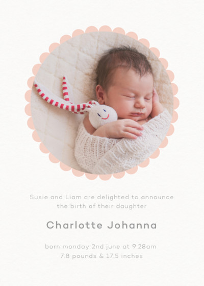 Blush Scallop Border | Personalised Birth Announcement