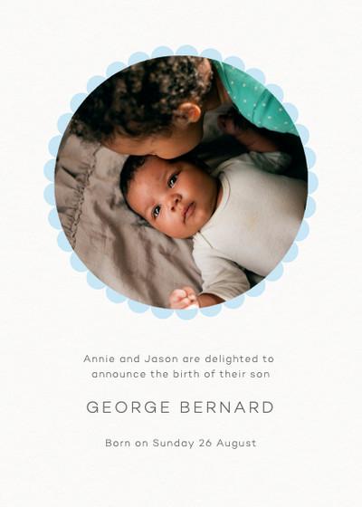 Blue Scallop Border | Personalised Birth Announcement