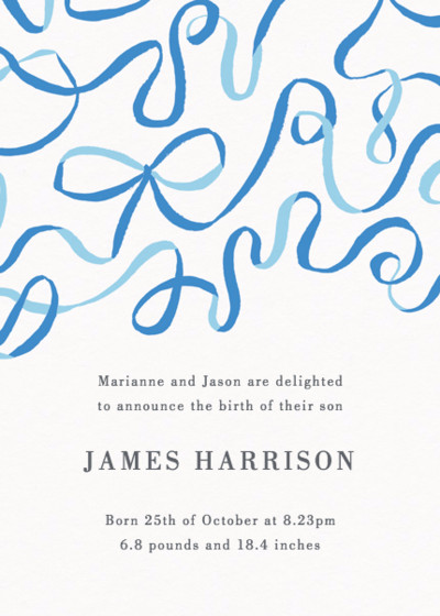 Blue Ribbons | Personalised Birth Announcement