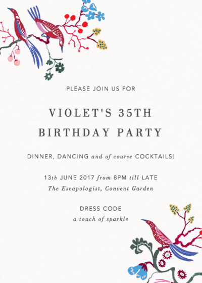 Brocade Bird | Personalised Party Invitation