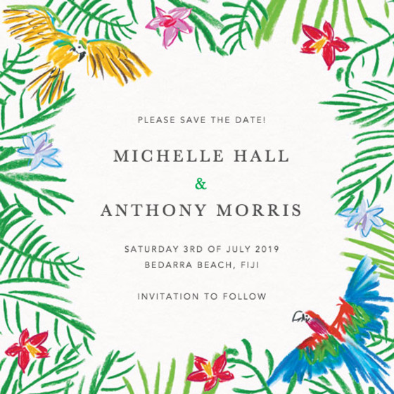 Tropical Parrots | Personalised Save The Date