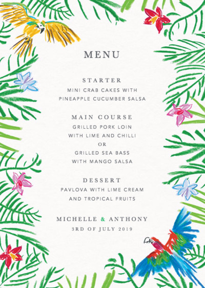 Tropical Parrots | Personalised Menu