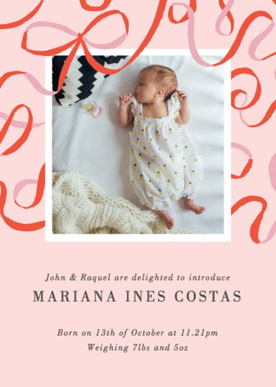 Ribbons  | Personalised Birth Announcement
