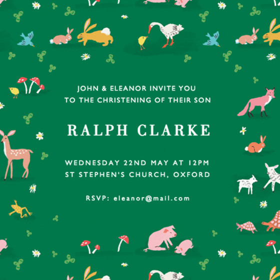 Tiny Animals | Personalised Christening Invitation