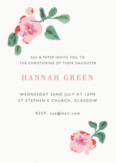 Rosebud | Personalised Christening Invitation