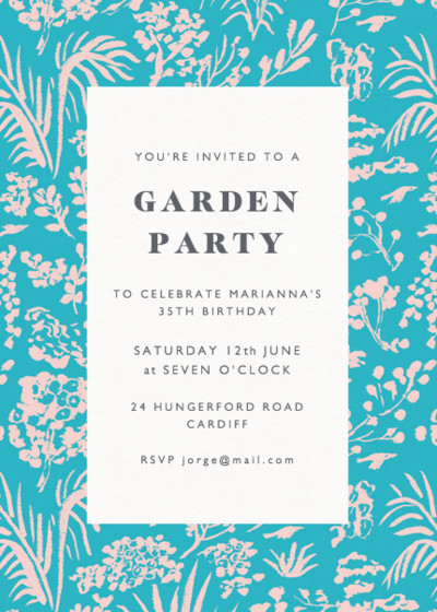 Pink Foliage  | Personalised Party Invitation