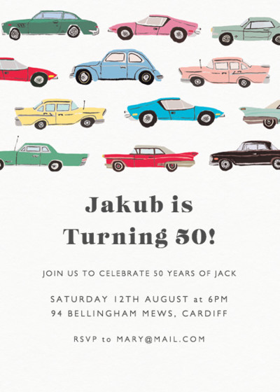Vintage Cars | Personalised Party Invitation