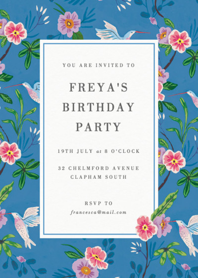 Hummingbirds | Personalised Party Invitation